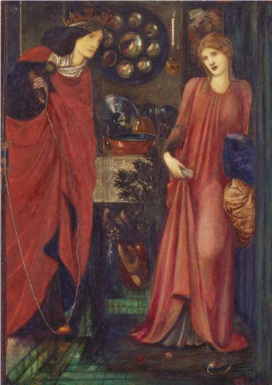 Burne-Jones, Sir Edward Coley: Fair Rosamund and Queen Eleanor. Fine Art Print/Poster (4054)